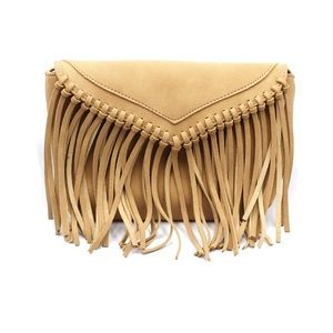 Brownish yellow fringed suede shoulder small purse